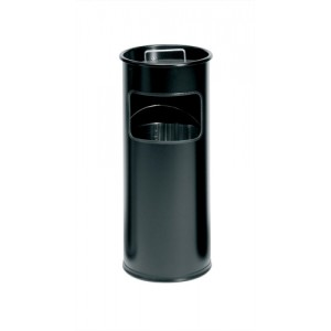 Durable Ashtray Waste Bin with 1.5 Kilos of Silver Sand 17 Litre Black Ref 3330/01