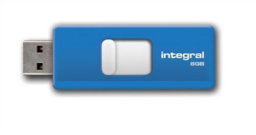 Integral Slide Flash Drive USB 2.0 Retractable 8GB Blue Ref INFD8GBSLDBL