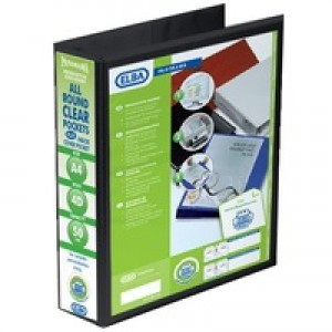 Elba Presentation Ring Binder PVC 4 D-Ring 50mm Capacity A4 Black Ref 400008430 [Pack 4]