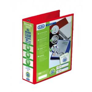 Elba Presentation Ring Binder PVC 4 D-Ring 65mm Capacity A4 Red Ref 400008674 [Pack 4]