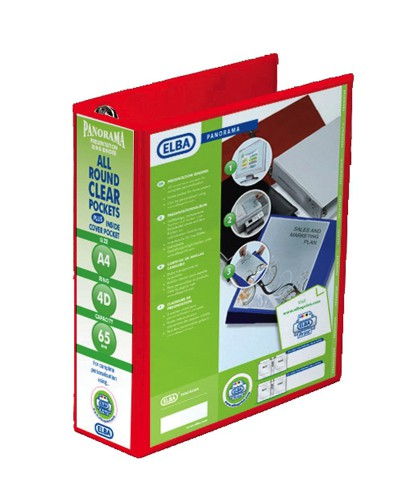 Elba Presentation Ring Binder PVC 4 D-Ring 65mm Capacity A4 Red Ref 400008674 [Pack 4]
