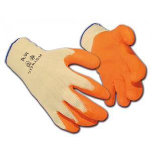 Portwest FlexLatex Gloves Polyester Cotton Medium Orange Ref A150MED [12 Pairs]