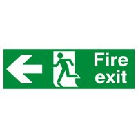 Niteglo Fire Exit/Arrow Left Sign PSPA-certified Polypropylene W150xH450mm Ref FX04311M