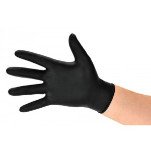 Polyco BG Nitrile Gloves Abrasion-resistance Rolled-cuff Medium Black Ref GL8972 [Pack 100]