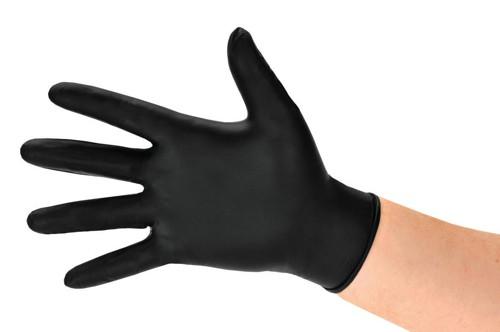Polyco BG Nitrile Gloves Abrasion-resistance Rolled-cuff Medium Black Ref GL8972 [Pack 100]