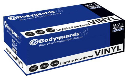 Polyco Blue Grip Vinyl Gloves Medium Blue Code GL8332