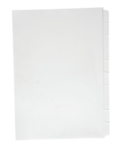 Concord Presentation Index Unpunched Reverse Collated Tabs 10-Part A4 White Ref 7501 [Pack 25]