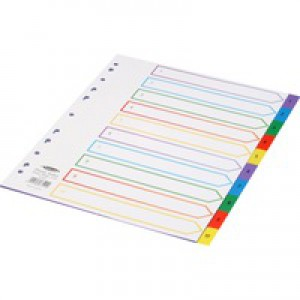 Concord Plastic Index Polypropylene 120 Micron Europunched 1-10 Extra Wide A4 Assorted Ref 67199