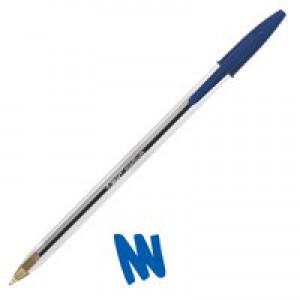 Bic Cristal Ball Pen Clear Barrel 1.0mm Tip 0.4mm Line Blue Code 847823