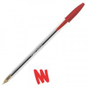 Bic Cristal Ball Pen Clear Barrel 1.0mm Tip 0.4mm Line Red Code 837361