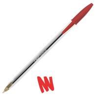 Bic Cristal Ball Pen Clear Barrel 1.0mm Tip 0.4mm Line Red Ref 8373612 [Pack 50]