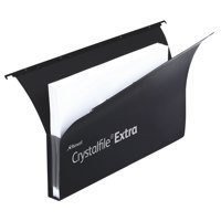 Image for Rexel Crystalfile Extra Secura Suspension File Polypropylene 30mm Foolscap Black Ref 3000087 [Pack 20]