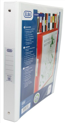 Elba Vision Ring Binder PVC with Clear Front Pocket 4 O-Ring Size 25mm A4 White Ref 100080879 [Pack 10]