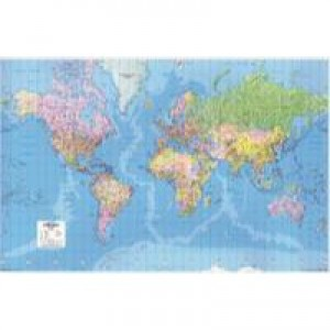 Map Giant World Political Map Laminated 315mile=1in 1840x1200mm Code GWLD