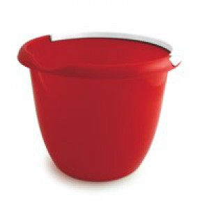 Plastic Bucket with Metal Handle and Pouring Lip 10 Litre Capacity Red Ref SPC/BUCKET/R