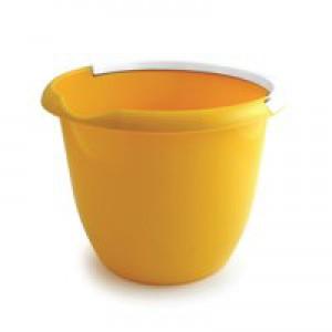 Plastic Bucket with Metal Handle and Pouring Lip 10Litre Capacity Yellow Ref SPC/BUCKET/Y