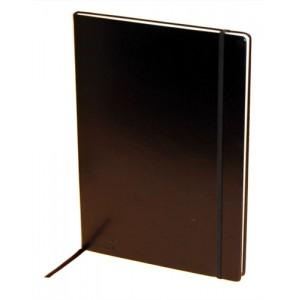 Silvine Executive Soft Feel Notebook Ruled with Marker Ribbon 160pp 90gsm A4 Black Ref 198BK