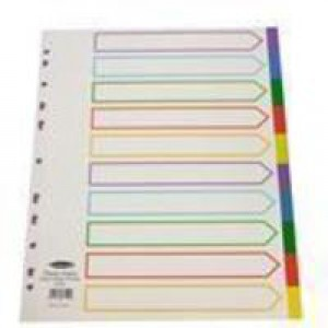 Concord Punched Pocket Dividers Plastic Multicolour-tabbed 10-Part Extra Wide A4 White Ref 66199