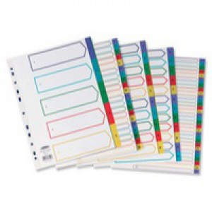 Concord Plastic Index Polypropylene 120 Micron Europunched A-Z A4 Assorted Ref 65799