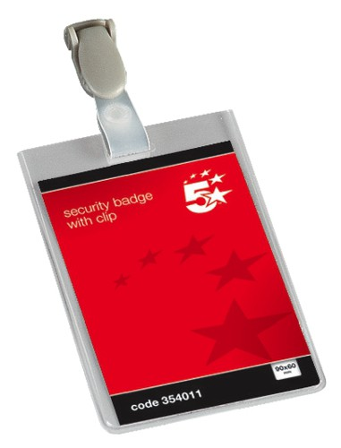 5 Star Name Badges Security Portrait with Plastic Clip 90x60mm [Pack 25]
