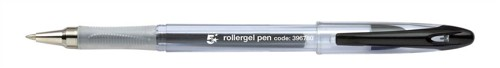 5 Star Roller Gel Pen Clear Barrel 1.0mm Tip 0.5mm Line Black [Pack 12]