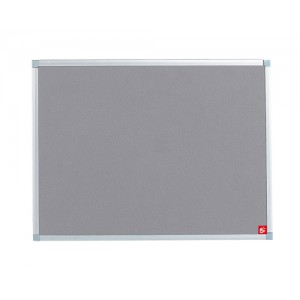 5 Star Noticeboard with Fixings and Aluminium Trim W900xH600mm Grey
