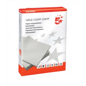 5 Star Office Value Copier Paper Multifunctional 80gsm 500 Sheets per Ream A4 White