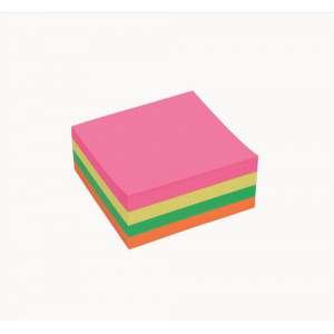 5 Star Re-Move Notes Cube Pad of 320 Sheets 76x76mm Neon Rainbow
