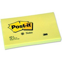 3M Post-it Note Recycled 127x76mm Yellow 655-1Y
