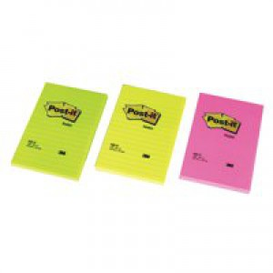 3M Post-it Pad 102x152mm Ruled Feint Rainbow Pack of 6 660N