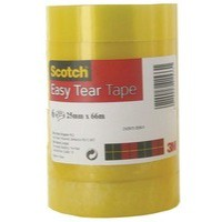 3M Scotch Easy Tear Clear Tape 25mm x66 Metres