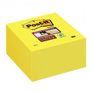 3M Post-it Super Sticky Cube 76x76mm Daffodil Yellow 2028S