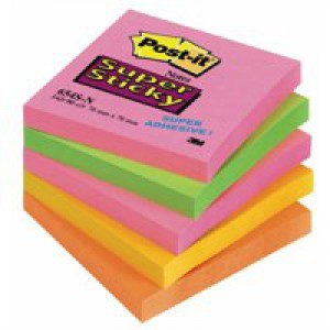 3M Post-it Super Sticky Note 76x76mm Neon Rainbow Pack of 5 654-SN