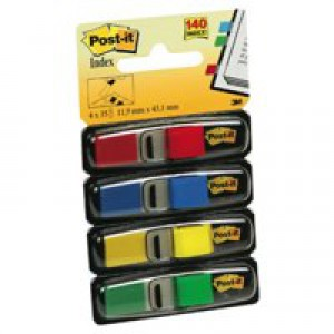 Post-it Small Index Flags Repositionable W12xH43mm Standard Colours Ref 683-4 [Pack 140]