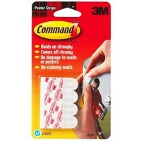 Image for 3M Command Adhesive Poster Strips Pk 12 White 17024