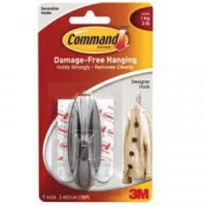 3M Command Adhesive Medium Oval Hook Pk 2 White 17081