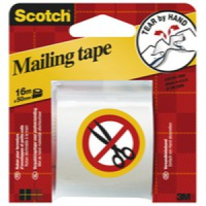 3M Scotch Packaging Tape Hand Tearable 50mm x16Metres E.5016C