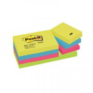 3M Post-it Note Warm Neon Rainbow Pack of 12 38x51mm 653TF