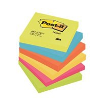 3M Post-it Note Energetic Colours Rainbow Pack of 6 76x76mm 654TF
