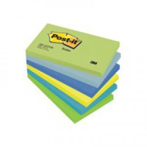 3M Post-it Note Cool Neon Rainbow Pack of 6 76x127mm 655MT
