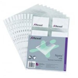 Rexel Nyrex Business Card Pocket Multipunched 10 Pockets for 20 Cards A4 Clear Ref 13681 [Pack 10]