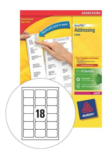 Avery Addressing Labels Laser Jam-free 18 per Sheet 63.5x46.6mm White Ref L7161-40 [720 Labels]