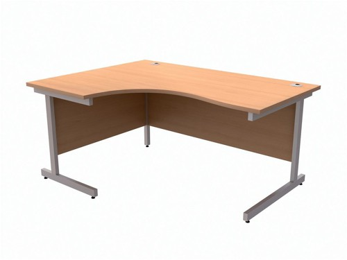 Trexus Contract Radial Desk Left Hand Silver Legs W1600xD1200xH725mm Beech