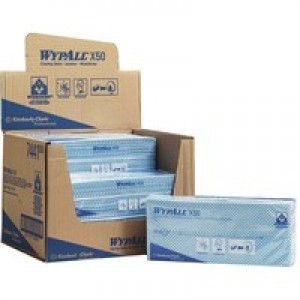 Wypall X50 Cleaning Cloths Absorbent Strong Non-Woven Tear-Resistant Blue Pack 50 Code 7441