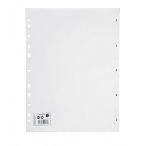 5 Star Index Multipunched 120 micron Polypropylene 1-5 A4 White