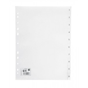 5 Star Index Multipunched 120 micron Polypropylene 1-10 A4 White