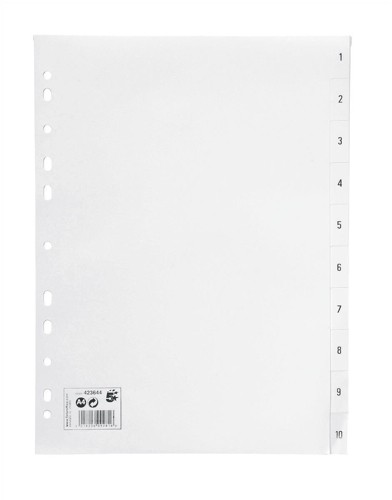 5 Star Office PP Index A4 White 1-10