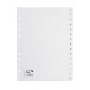 5 Star Index Multipunched 120 micron Polypropylene 1-15 A4 White