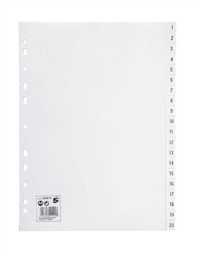 5 Star Office PP Index A4 White 1-20