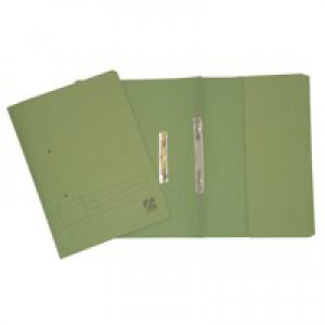 5 Star Transfer Spring File with Pocket 315gsm 38mm Foolscap Green [Pack 25]